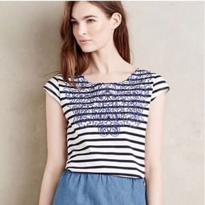 Meadow Rue Palermo Striped Embroidered Blouse